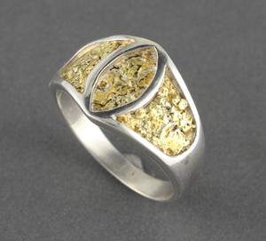 RM10 Mens Silver Ring with Gold Nuggets Marqee Shape