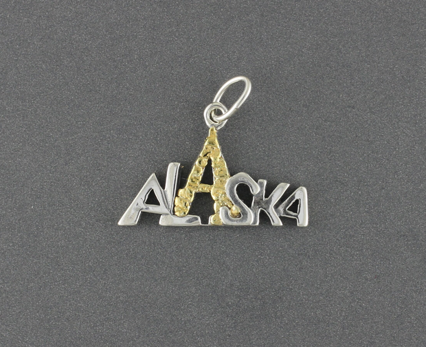 N121N  Alaska Mountain Necklace Silver with nug