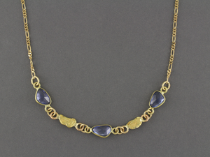 NC25  Blue Sapphire Wrapped with 18kt & Nuggets 14kt Chain
