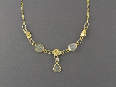 NC26  Diamond Slice Wrapped with 18kt & Nuggets 14kt Chain