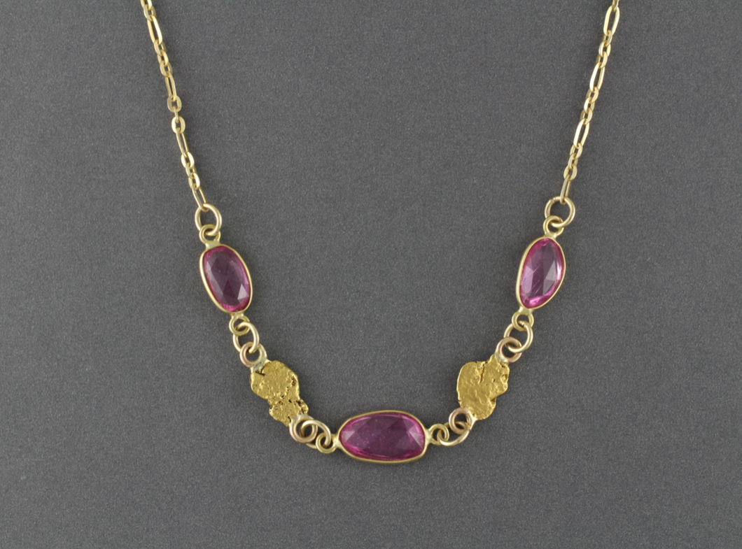 NC28  Pink Sapphire Wrapped with 18kt & Nuggets 14kt Chain