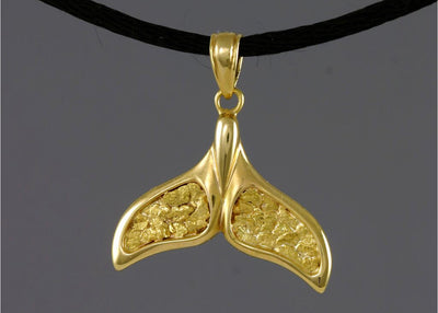 N909  Pendant Whale Tail 14kty and Nuggets