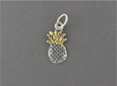 N198  Small Silver Pineapple Pendant highlighted with Alaskan Gold Nuggets