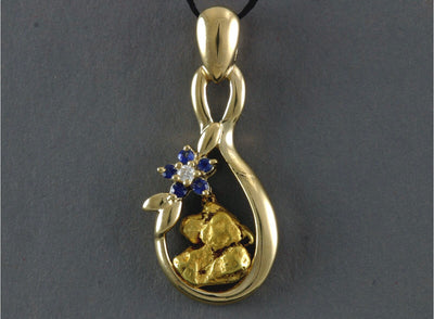 N814 DBS  Pendant 14kty Diamond and Sapphires