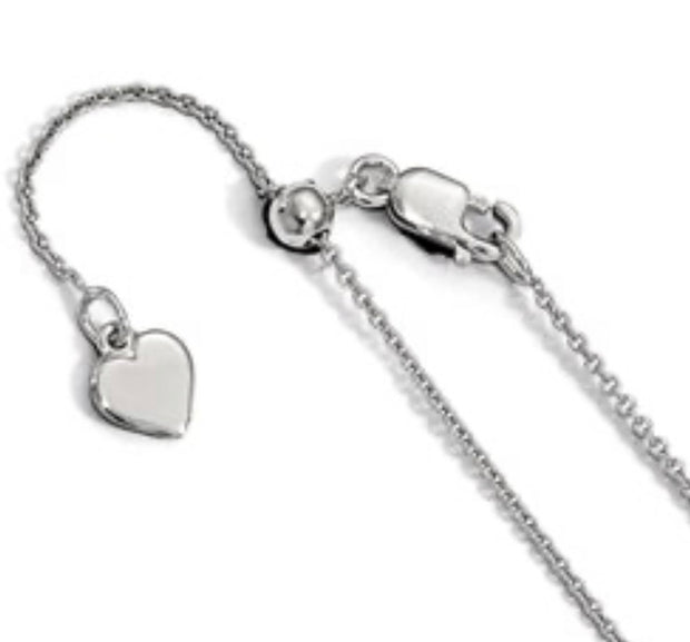 Rolo Silver Adjustable Chain .95mm