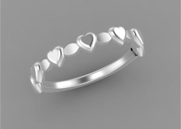 R013-6. Stackable Silver Heart Ring