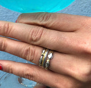 R178-6   Salmon Stackable Silver Ring highlighted with Gold Nuggets