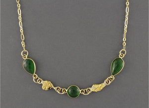 NC32  Green Diopside Wrapped with 18kt & Nuggets 14kt Chain