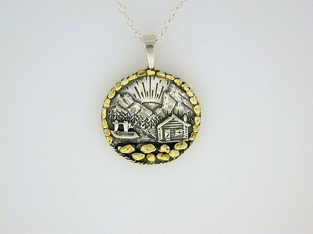 N044ALL   Cabin Silver Pendant with Lots of Gold Nuggets