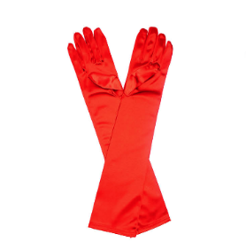 Satin Gloves - Long - Red
