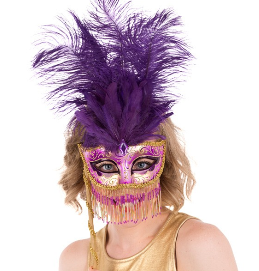 Mask - BELLYDANCE - gold purple - fringed