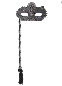 Mask - Crystal Lace on Stick - Silver