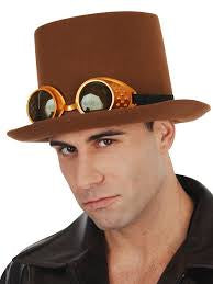 Top Hat Steam Punk with Goggles - Brown