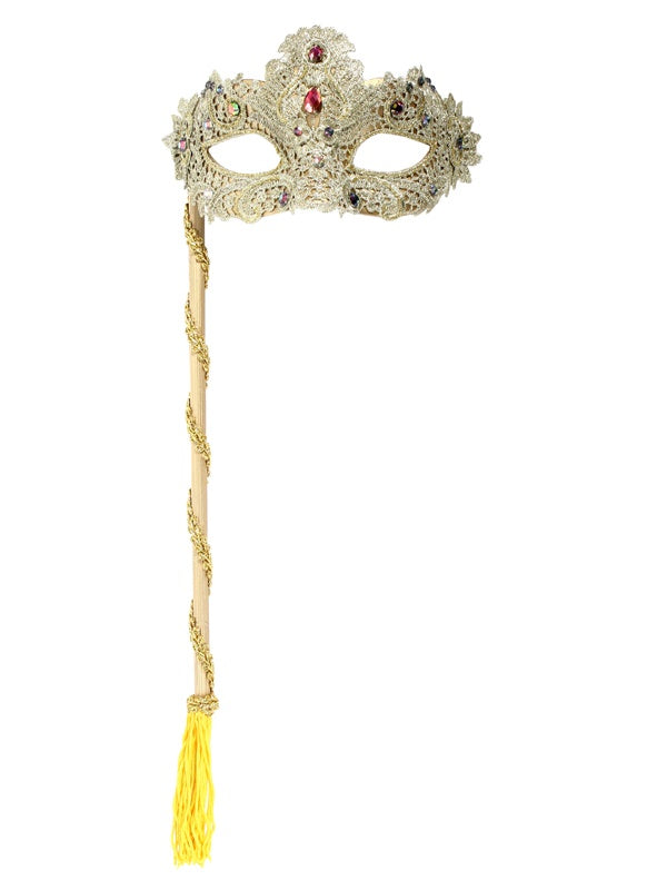 Mask - Crystal Lace on Stick - Gold