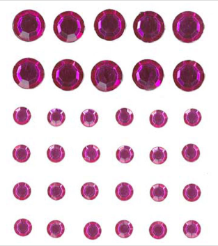 Stick on Bling Circles Hot Pink