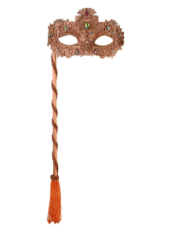 Mask - Crystal Lace on Stick - Copper