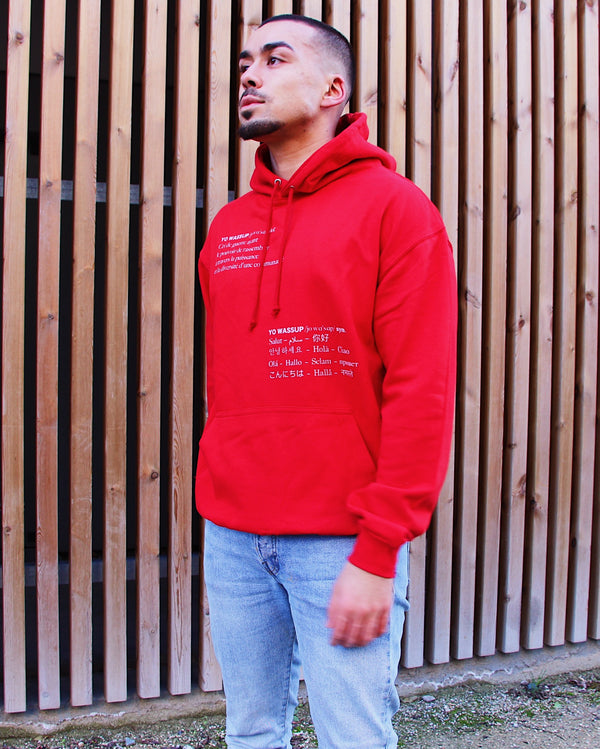 "Sweat Capuche Homme ""Yo Wassup"" Rouge"