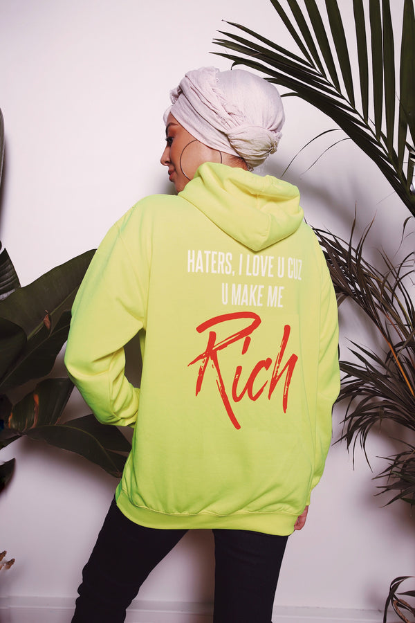 "Sweat Capuche - ""Rich"" Neon"