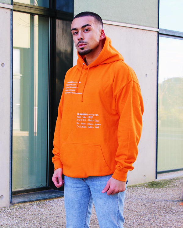 "Sweat Capuche Homme ""Yo Wassup"" Orange"
