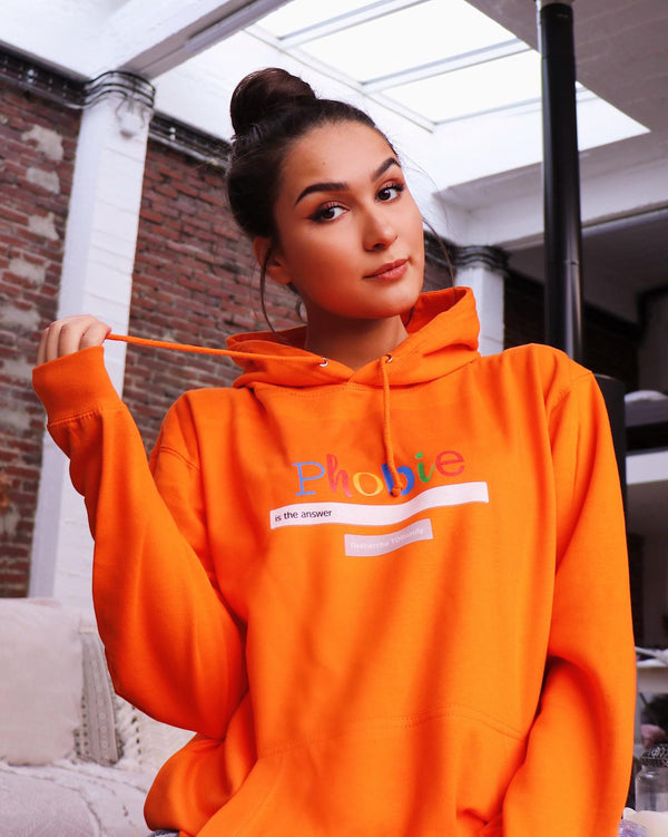 "Sweat Capuche Femme ""Phobie"" Orange"