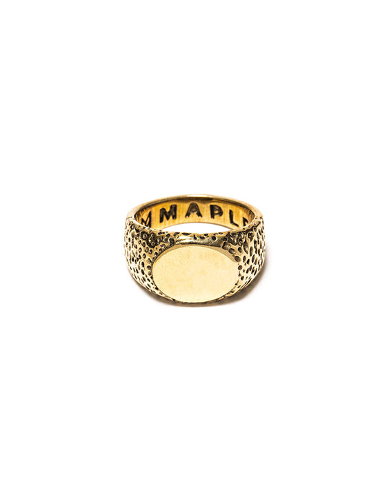 Gold Textured Signet Ring - Westhill Jewellery