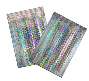 10 to 100 Pack -6x10 Holographic METALLIC BUBBLE MAILER, Self Sealing Envelope - ShipNFun