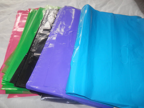 25 Large Hot Pink, Black, Teal, Lime Green, and Purple Plastic Merchandise Bag - ShipNFun