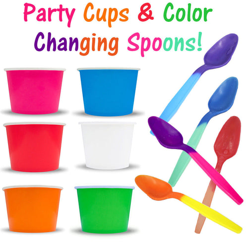 Party Ice Cream Snack Food Paper Cups, Color Changing Spoons Birthday Combo Pack - ShipNFun