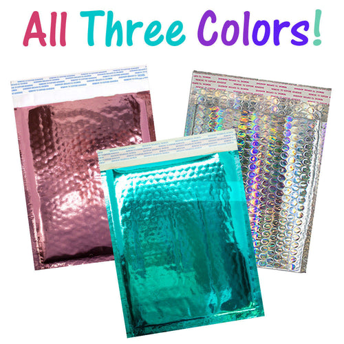 8.5x12 Holographic, Pink, Teal METALLIC BUBBLE MAILERS,  Poly Padded Envelopes! - ShipNFun