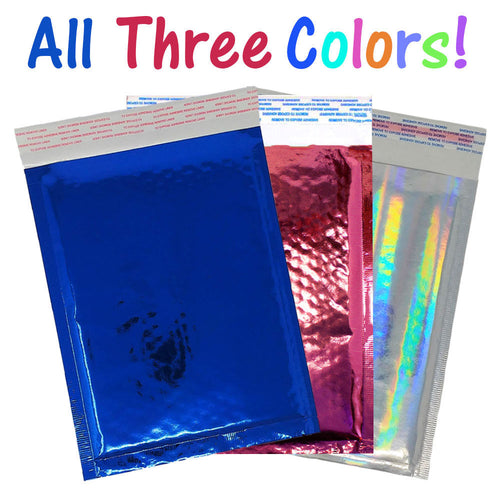 6x10 Cobalt Blue Pink & Hologram Metallic Bubble Mailers Shipping 6x9 Envelopes - ShipNFun