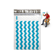 "6"" x 10"", 4 x 8"" Teal Blue Chevron Poly Bubble Mailer Padded Shipping Envelopes - ShipNFun"