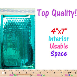 4x8 Teal, Rose Gold Metallic Padded Bubble Mailers, Shipping Envelopes Self Seal - ShipNFun