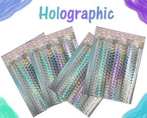 5-50 Pack Holographic Bubble Mailer 9.5x13.5 Metallic Foil Padded Envelopes NEW! - ShipNFun