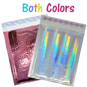 6x10 Pink & Hologram Metallic Bubble Mailers Holographic Air Shipping Envelopes - ShipNFun