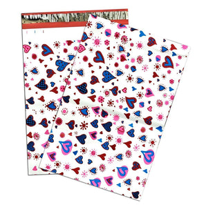 "14.5"" x 19"" Blue Heart Print -Flat POLY MAILERS, USPS Approved Shipping Envelope - ShipNFun"