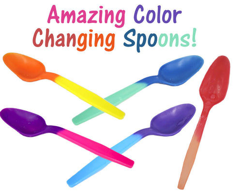 FUN! Color Changing Spoons, Party Favorites Reusable Recyclable Eco Friendly NEW - ShipNFun
