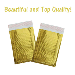 "4"" x 8"" Gold Bubble Mailers, Metallic Mirrored Rigid Padded Shipping Envelopes! - ShipNFun"