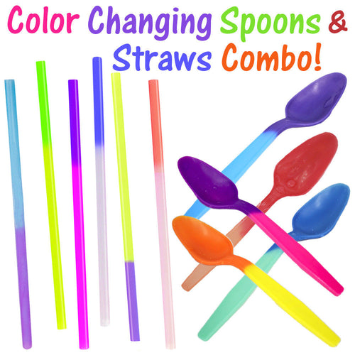 Color Changing Party Spoons & Straws Combo! Reusable Plastic Drinking Favors New - ShipNFun
