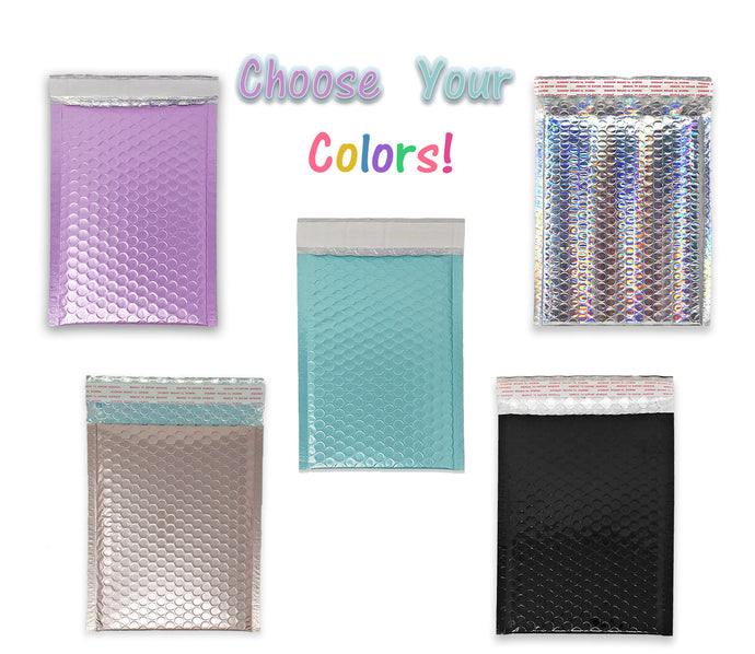 You Choose! 5 Colors 6x9 Bubble Padded Mailers, Ice Blue, Lavender, Nude Pink, Black, Holographic 6x10 Metallic Shipping Envelopes - ShipNFun