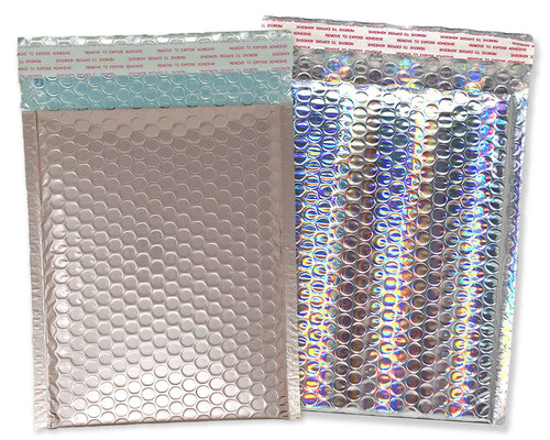 9x13 Nude Pink and/or Holographic Metallic Bubble Mailers (9.5x13