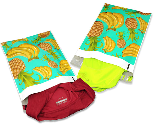 10x13 Poly Mailers, Teal Pineapple Banana Tropical Theme Self Seal, Cosmetic Clothing Custom Flat Shipping Mailing Envelope Bags