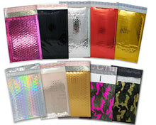 "4x8"" Holographic, Pink, Rose Gold, Teal, Black, Camo, Silver Metallic Bubble Mailers, Padded Self Sealing Shipping Envelopes Pack, Size #000"