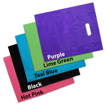 15x18 Inch Large Plastic Merchandise Bags, Pink, Teal, Blue, Lime, Purple, Black Combo Plastic w/Die Cut Handles, Colored Retail Gift Sack