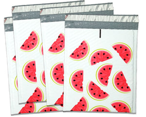 8x12 Watermelon Design Poly Bubble Mailers, (8.5x11 Usable Space) Protective Fun Colored Padded envelopes, Self Seal Adhesive Shipping Bags