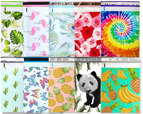 10x13 Poly Mailers, Sampler, All Designs, Mix and Match Tye Dye, Pink & Teal Pineapple Banana, Peacock, Roses Shipping Mailing Envelope Bag