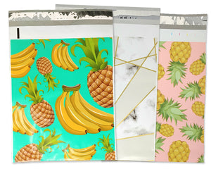 100 Pack 10x13 Pink Pineapple, Teal Banana Pineapple, Marble Mosiac Tile Poly Mailers, Shipping Self Seal Mailing T shirt bags, Custom Combo