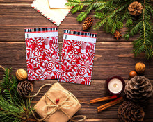 10x13 and 6x9 inch Candy Cane Poly Mailers Combo, Fall, Winter Collection Theme, Flat Self Seal Shipping Mailing Business Postal bags