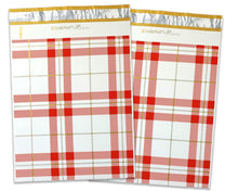 10x13 and/or 6x9 inch Red & Gold Plaid Design Poly Mailers Combo, Fall, Winter Collection Theme, Flat Self Seal Shipping Mailing Postal bags