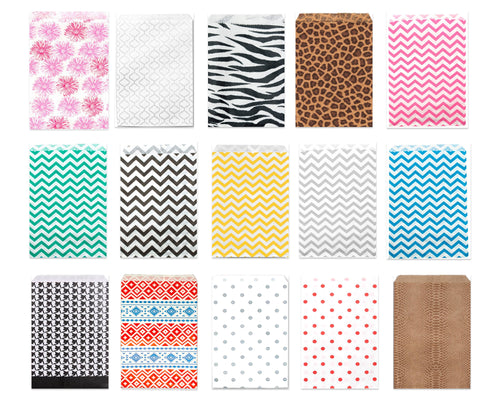 25, 50, 100, 200 Pack 6x9 Paper Bags, Tribal Chevron, Leopard, Zebra, Polka Dot, Wedding Bags, Party Favor Bags, Kraft Paper Candy Bags,