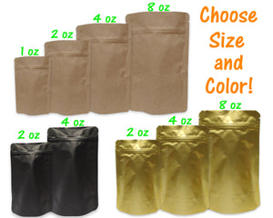 Gold, Black Matte, Natural Brown Kraft Stand Up Food Safe Pouch Bags, 1, 2, 4, 8 ounce Tea, Coffee Resealable Storage Display Foil Packaging